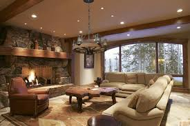 Stone Living Room Design With Fireplace On Rustic