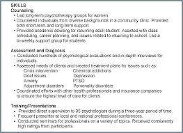 Resume Skills Examples Psychology