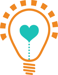 Picture of mom s life hacks logo cartoon light bulb with a heart filament