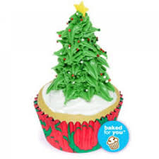 Festive Christmas Tree Cupcakes With Frosting