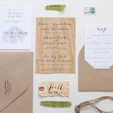 Wood Veneer Wedding Invitation Anelise Salvo Design OSBP8
