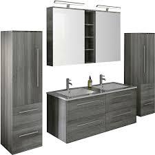 4 tlg badezimmer set inkl doppelwaschtisch grau salesfever