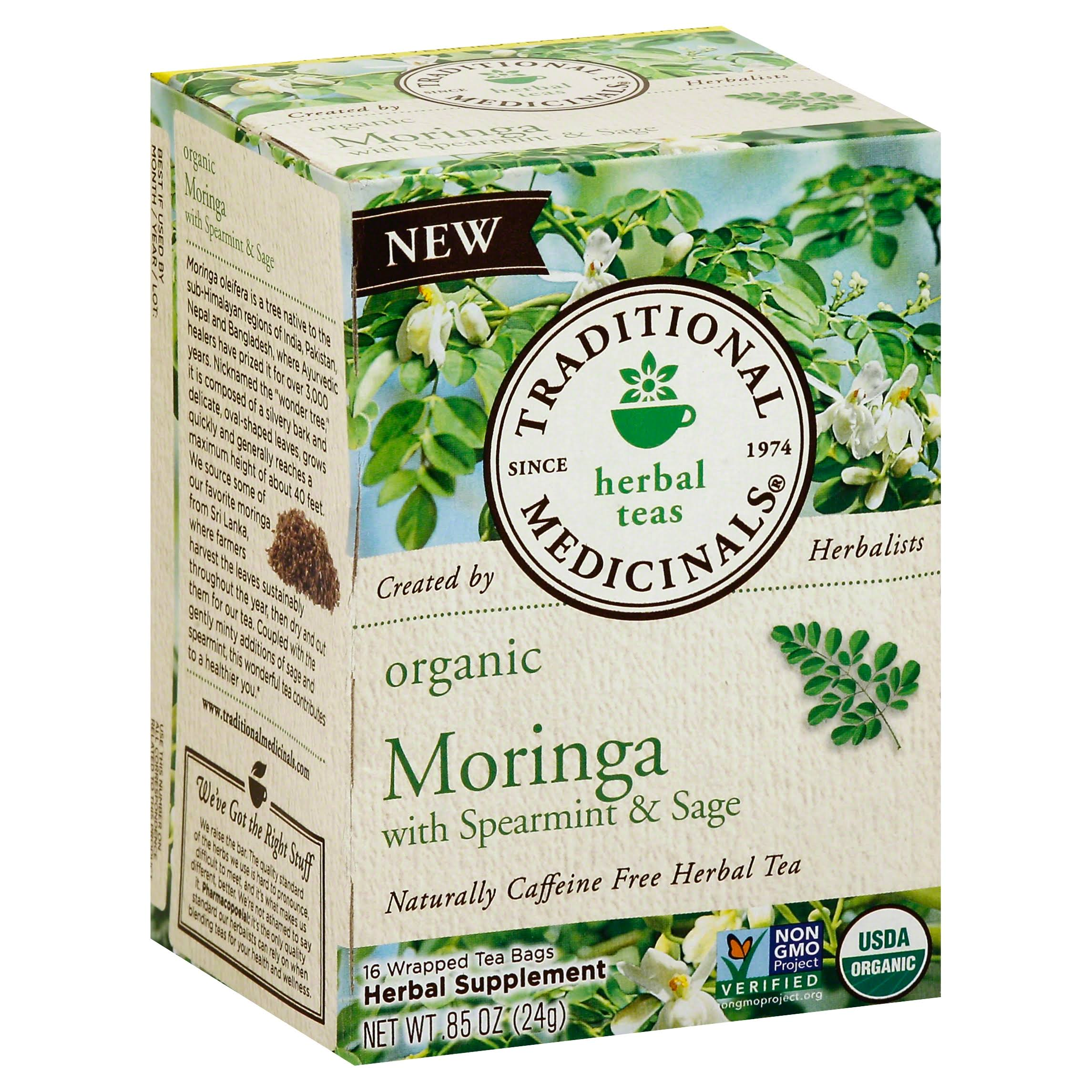 Traditional Medicinals Organic Moringa with Spearmint and Sage Herbal Tea - 16ct