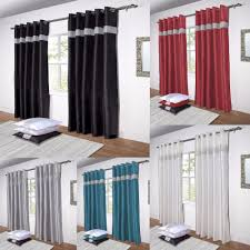 Ebay Curtains With Pelmets Ready Made by Diamante Curtains Pair Of Lined Faux Silk Ready Made Eyelet