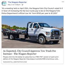People's Voice Edition: Tow Truck Fee Increase Passes - The Niagara ... Marx Toys Big Bruiser Battery Operated Super Highway Service Tow Truck San Diego Towing Flatbed Company What Is Involved With Services Cost Regalia Does It To A Car In Antonio Shark Recovery Tesla Pickup Trucks 300klb Towing Capacity Is Crazy But Feasible Trucks Rollback For Sale Craigslist How Much Business Profit Bizfluent Lince Do You Need To That New Trailer Autotraderca Cheap Detroit 31383777 Affordable Home Webbs Roadside Extension Ramps