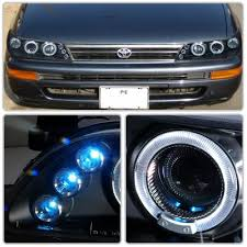 toyota corolla 1993 1997 black halo projector headlights with led
