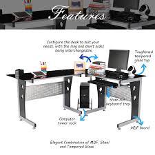 Tempered Glass Computer Desk by Homcom Modern L Shaped Glasstop Computer Desk