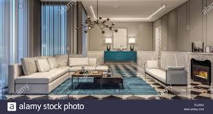 modernes design wohnzimmer mit blauen akzenten und schwarzen