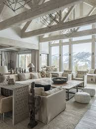 Mountain Style Formal And Open Concept Light Wood Floor Gray Living Room Photo In