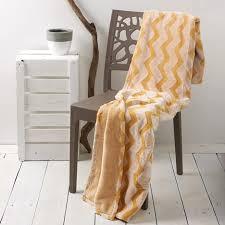 jeté de canapé jaune plaid couvre lit jeté de canapé ultra doux motifs zigzag relief