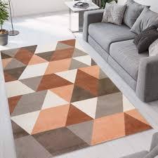 rechteckiger teppich braun grau modernes geometrisches design glo005