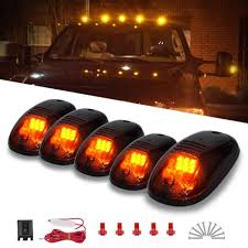 100 Truck Marker Lights Cab 5 X Amber Top Clearance Roof Running With Wiring Harness Compatible For Ford Dodge SUV Pickup 4x4