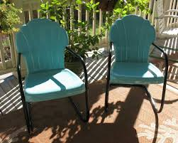 Furniture Set 2 Turquoise Patio Chairs With Black Steel Base