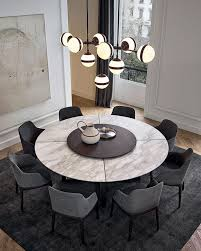 Large Sized Round Marble Bistro Table With Eight Chairs Dining Room Dark Gray Floor Rug Modern