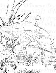 Fantasy Mushroom Village Adult Coloring Page Digi Stamp Instant Download Printable PDF