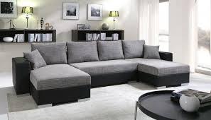 meublesline canapé d angle convertible 5 places enno gris et noir