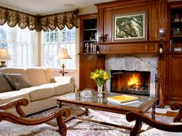 Cool Living Room Valance Feats With Luxury Rustic Fireplace And Traditional Furniture Sets
