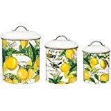 Michel Design Works 3 Piece Metal Kitchen Canister Set Lemon Basil