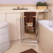 handtuchständer mit 2 bambus stangen freistehend für badezimmer
