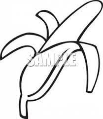 black and white banana clipart