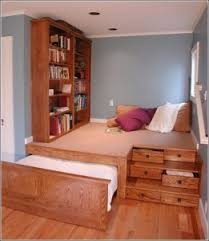 Built In Bookcase And Drawers Not Only A Funky Bedroom Idea