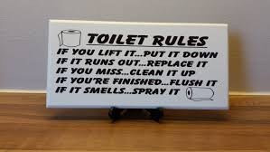 Printable Bathroom Occupied Signs by Toilet Sign Plaque Toilet Rules If You Lift It Upput It