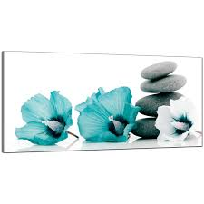 Teal Living Room Ideas Uk by Large Teal And Grey Canvas Pictures Of Flowers And Pebbles