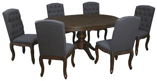 Trudell 7-Piece Oval Dining Table Set With Upholstered Side Chairs ... Trisha Yearwood Home Music City Hello Im Gone Ding Room Table Grey Griffin Cutback Upholstered Chair Along With Dark Wood Amazoncom Formal Luxurious 5pc Set Antique Silver Finish Tribeca Round And 2 Upholstered Side Chairs American Haddie Light Tone 4 Value Hooker Fniture Corsica Rectangle Pedestal Matisse With W Ladder Back By Paula Deen Vienna Merlot Kayla New