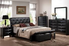 Black Leather Headboard Bed by Reggio Classic Style Bed Collection In Black Faux Leather F9157q