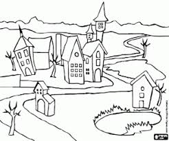 Small Village With A Winding Road The Buildings Of City Coloring Page