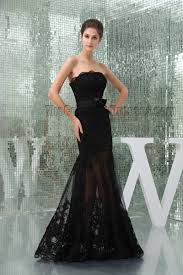 black strapless see through prom gown evening dress