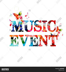 Colorful Typographic Music Background Event Poster Design Inscription With Notes