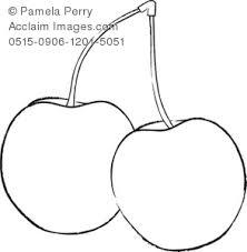 Black and White Clip Art Illustration of Bing Cherries