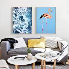 100 Pop Art Home Decor Blue Sea Pink Flamingo Modern Canvas Wall Posters Photographic Prints For Office Living Room Bedroom Or Bathroom Modern