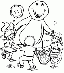 High Quality Free Printable Barney And Friends Cartoon Coloring Pages For Kids