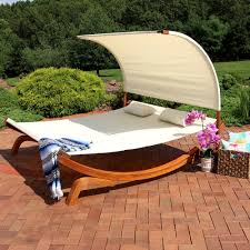 Sunnydaze Natural Colored Outdoor 2 Person Wooden Lounger With Canopy Perfect For Patio Or Poolside