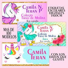 Etiquetas Escolares Personalizadas Kit Imprimible Unicornio
