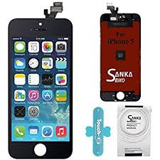 SANKA LCD Retina Touch Screen Replacement Digitizer Display Repair Kit Glass Frame Assembly Set for iPhone 5 Black Repair Tools Included