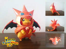 Papercraft Pokemon Pikachu In Charizard Costume