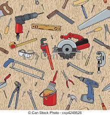 Tools On Wood Pattern Vector