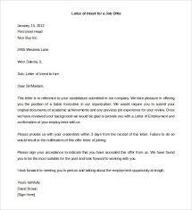 Letter of intent example sample template for a job offer from