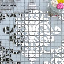 mosaic tile murals white and silver glass plated wall decoration
