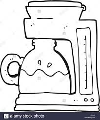 Freehand Drawn Black And White Cartoon Coffee Filter Machine
