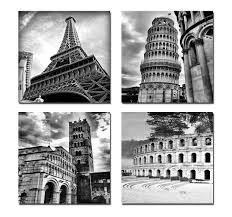 Architectures Modern 4 Panels Giclee Canvas Prints Europe Buildings Black And White Landscape Paintings On Wall Art In Painting Calligraphy From