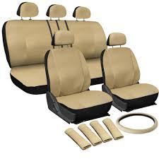 Oxgord Trim 4 Fit Floor Mats by Oxgord Faux Leather Car Seat Covers 17pc Set W Steering Wheel Belt