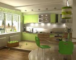 Green Kitchen Cabinets And Turqoise Walls Chairs Curtains
