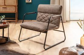 casa padrino retro lounge chair antique taupe black 71 x 72 x h 79 cm faux leather armchair with metal frame living room furniture