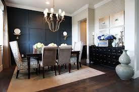 Tropical Wall Accents Dining Room Contemporary With Dark Wood Floor Pedestal Standard Height Tables