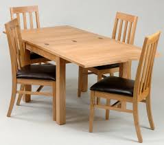 DIY Custom Rectangle Expandable Dining Table For 4 Wooden Chairs With Dark Brown Leather Seat Ideas