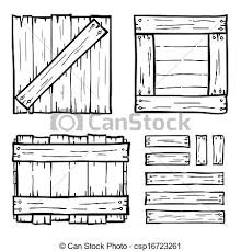 Set Of Wooden Box Doodles Vector